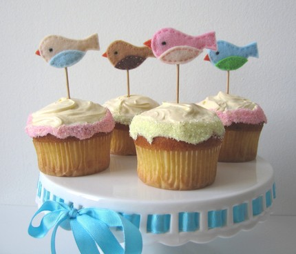 felt bird cupcake flags cupcake toppers girl birthday party cupcakes desserts