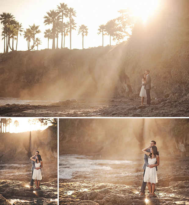 engagement session in newport beach couple cuddling on beach