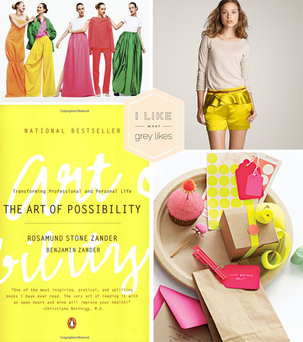 bright color palette for wedding inspired by j. crew, neon yellow, the art of possibility