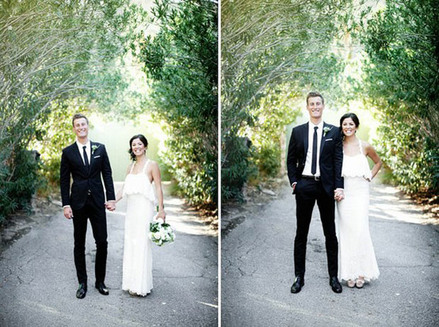ace hotel wedding, groom in black suit, white bouquet, james moes photography