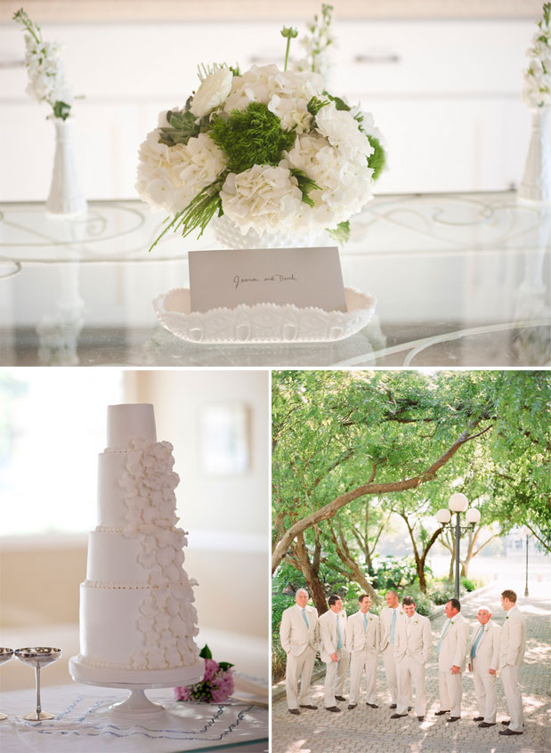 white wedding cake, white flower centerpiece, light tan groomsmen suits, davis_islands_garden_club_green_blue_florida_wedding_justindemutiisphotography_lovell_carney_7