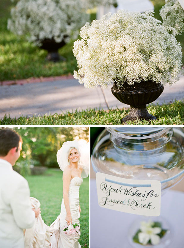 white and green wedding, baby's breath centerpiece, maggie sotero bridal gown, real bride, davis_islands_garden_club_green_blue_florida_wedding_justindemutiisphotography_lovell_carney_8