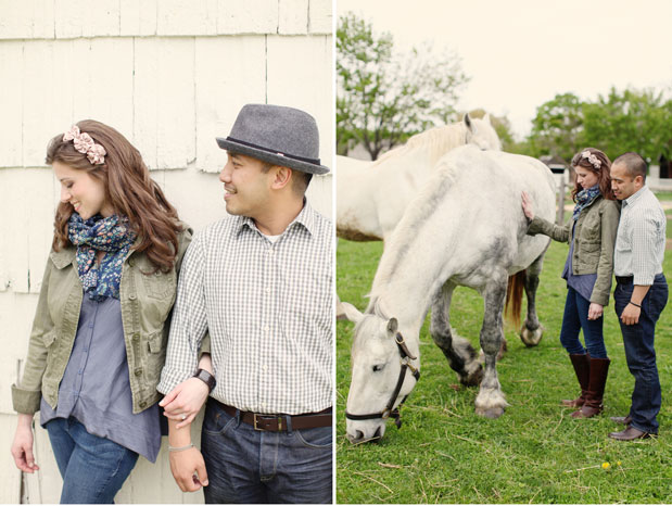 couple on a farm with white horses engagement session holmdel park new jersey kay english photography