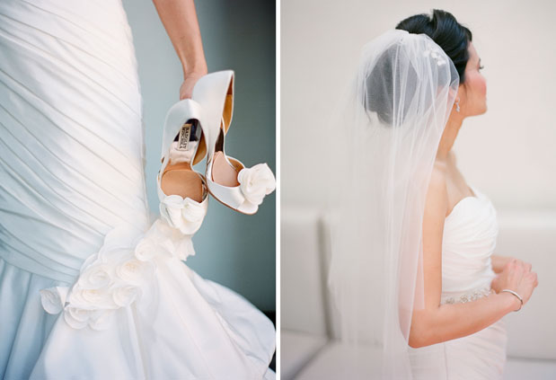 bride getting ready, white bridal shoes, tulip shaped dress