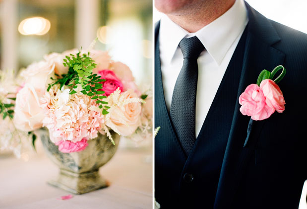 pink ranunculus boutonniere, pink rustic centerpiece, il cielo wedding