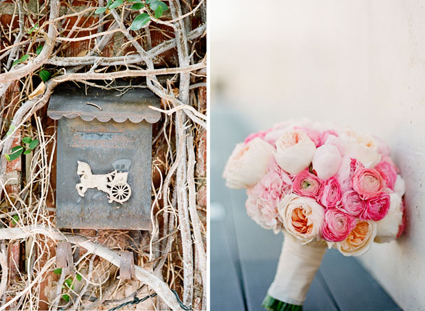 pink peony garden rose bouquet, rustic mailbox, il cielo wedding