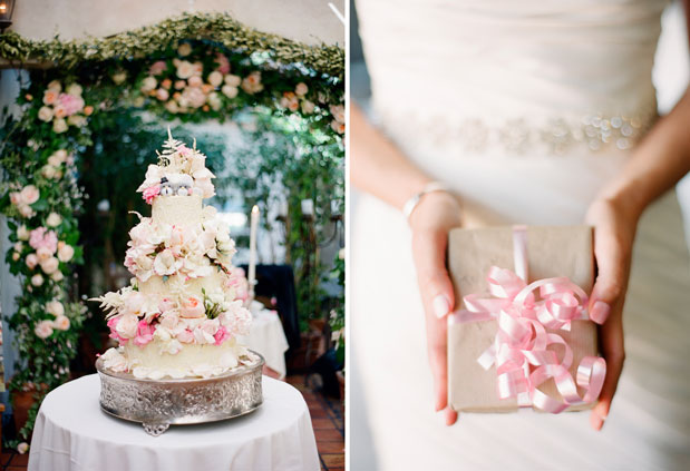 wedding cake with pink flowers, pink gift wrapping, il cielo wedding
