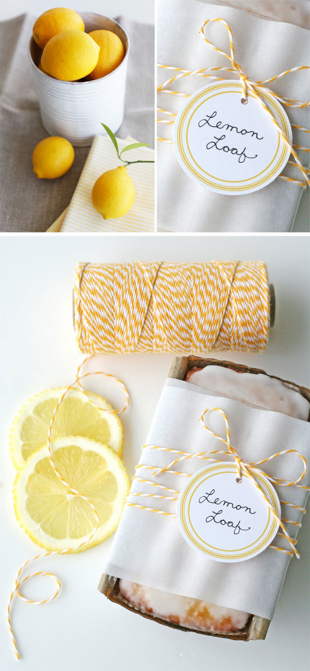 lemon loaf wedding shower favor yellow inspiration diy baking yellow and white twine free downloadable diy gift tag label