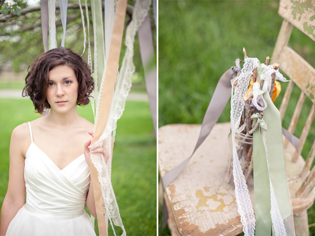 Romantic bridal shoot, ribbon wands with lace, pastel ribbon curtain