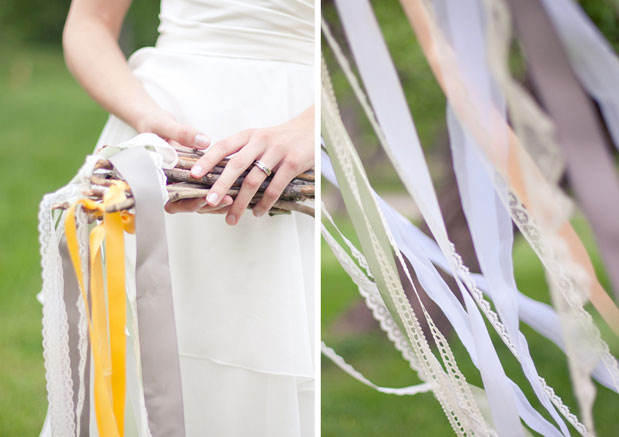 Romantic bridal shoot, ribbon wands with lace, ribbon curtain