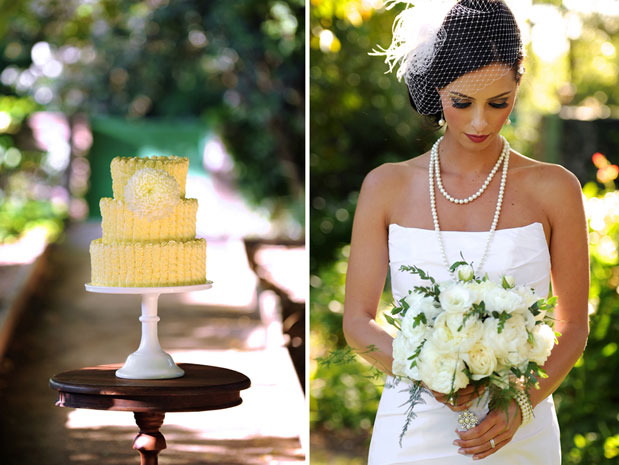 bird cage veil yellow wedding cake great gatsby inspiration shoot