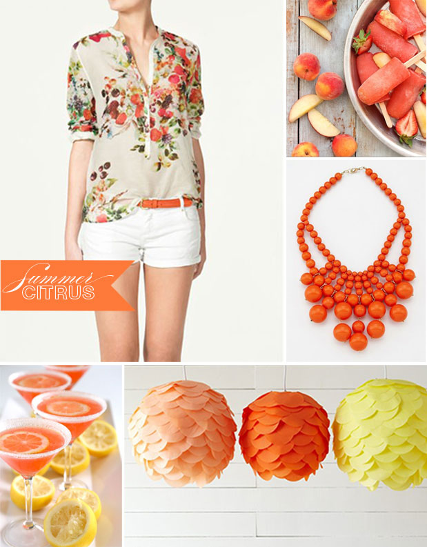 summer citrus orange pink yellow inspiration board oliphant orange statement necklace watermelon DIY paper chandelier grapefruit martini