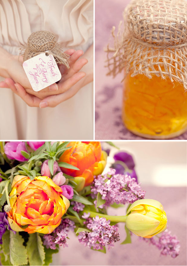 orange tulips purple lilac centerpieces honey wedding favors