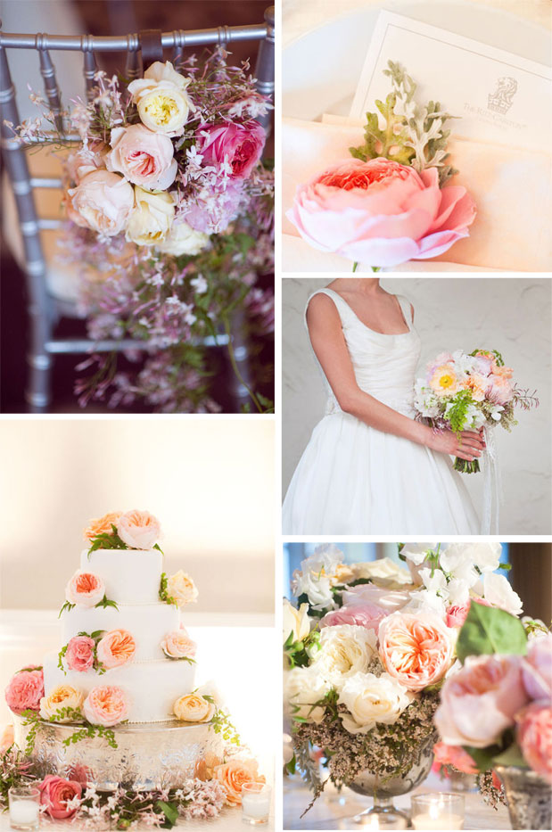 pink wedding flowers montage wedding