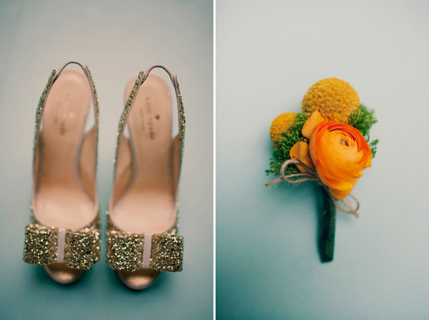 gold glitter wedding shoes orange yellow billy ball ranunculs boutonniere
