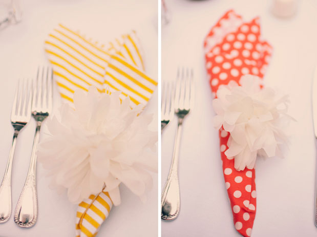napkin ideas for wedding orange white polka dot yellow white strip poms diy