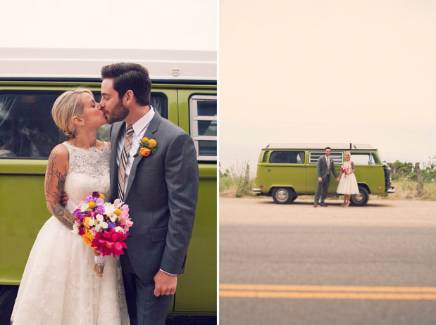 green volkswagen bus wedding getaway car