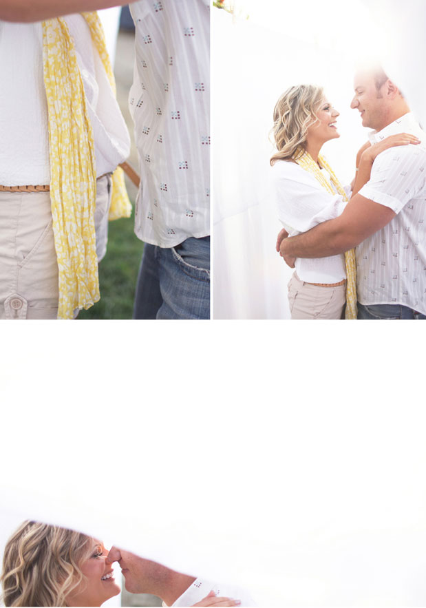 laundry engagement sesion yellow scarf