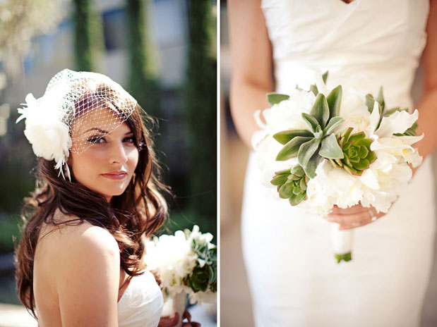 white and green succulent bouquet luxe hotel bel air bride JL Designs florals
