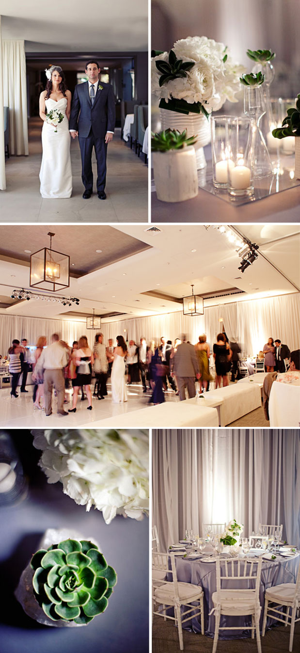 indoor wedding luxe hotel bel air modern succulents white decor