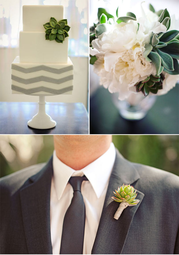 chevron stripe wedding cake grey stripes green suculent modern wedding photos succulent boutonniere white and green bridal bouquet