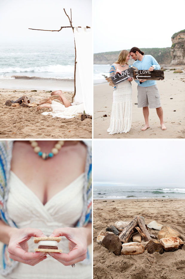 beach smores camping engagement session diy tent
