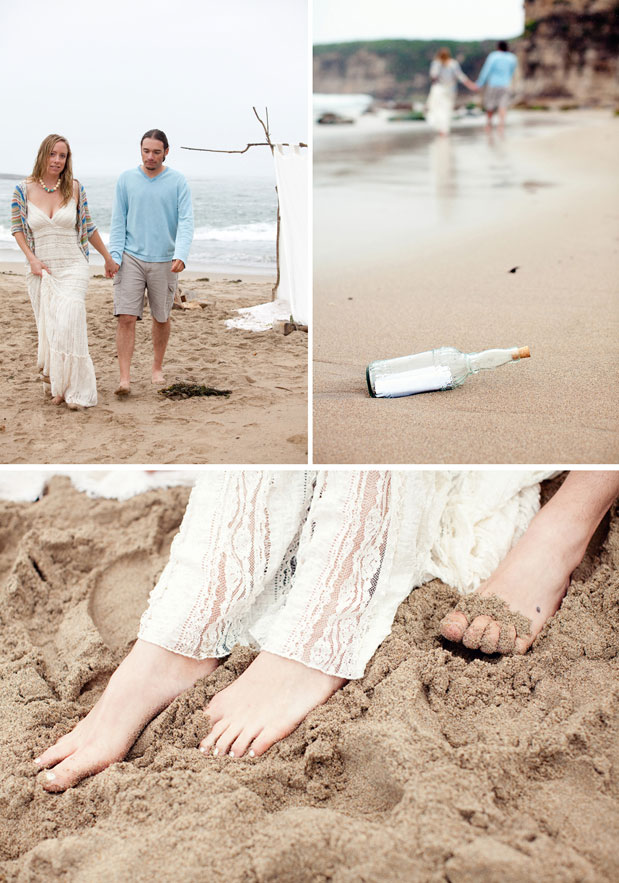 couple walking on beach love message in a bottle feet in sand