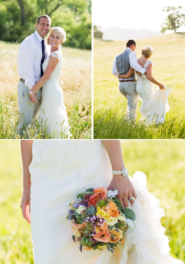 colorful bridal bouquet santa margarita ranch wedding lace dress