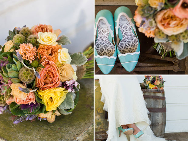 aqua teal wedding heels shoes santa margarita ranch orange yellow pink bouquet