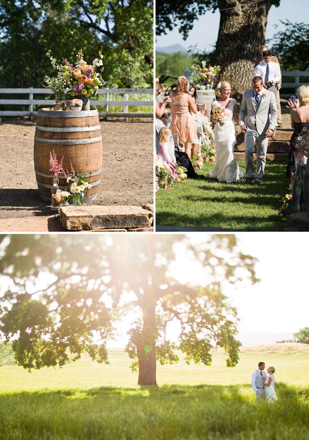 santa margarita ranch wedding wine barrell pink flowers groom gray suit bride white lace dress