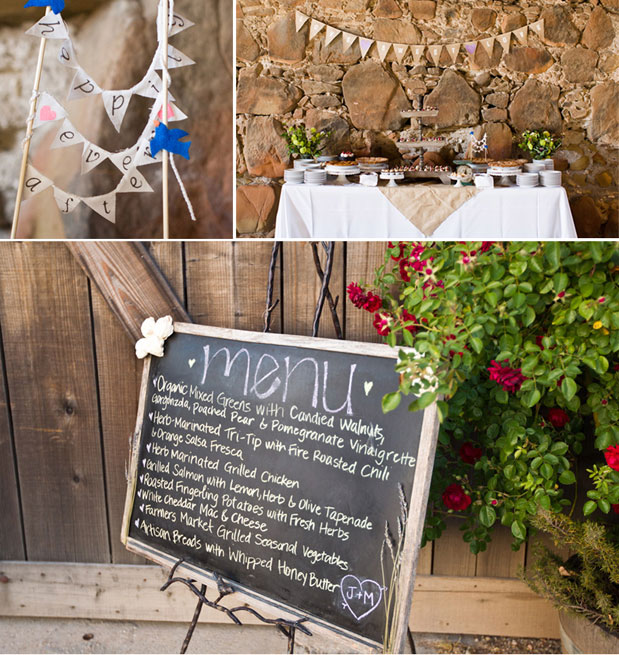 chalkboard wedding menu, penant flag cake table penant pie garland santa margarita ranch wedding