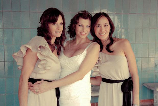 one shoulder champagne color bridesmaid dress