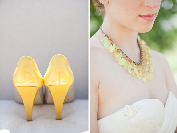 yellow wedding heels neon yellow statement necklace bridal jewelry for summer
