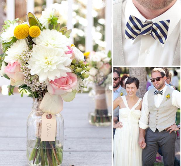 striped bowtie pink yellow white wedding bouquet