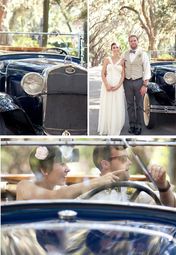 Wedding Blog Striped Bow Ties, Caricatures, and a Vintage Getaway Car