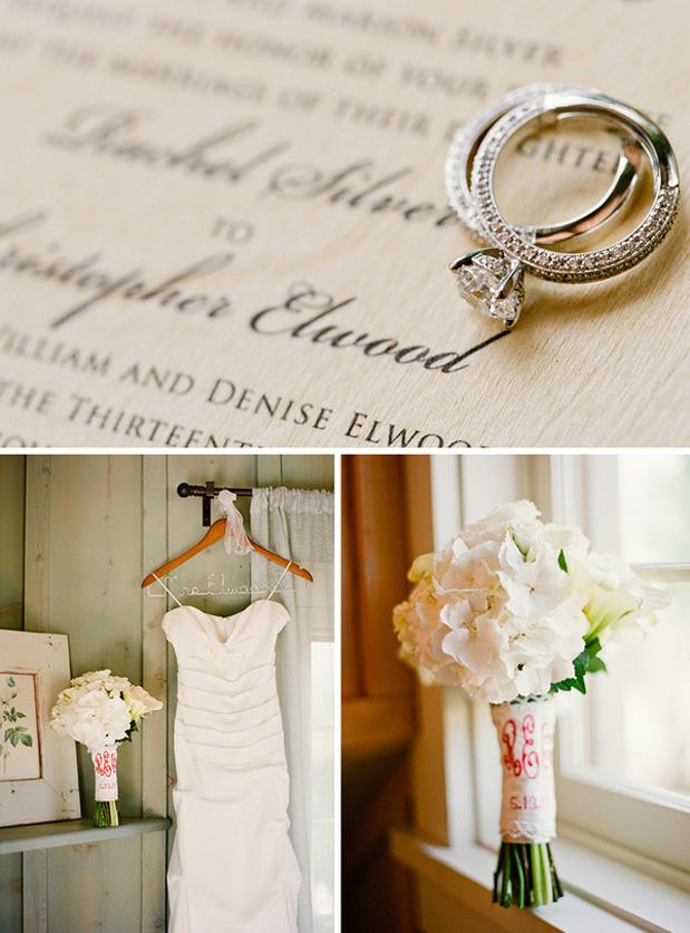 wedding rings, white hydrangea bouquet, monogrammed hankie, wedding dress on hanger