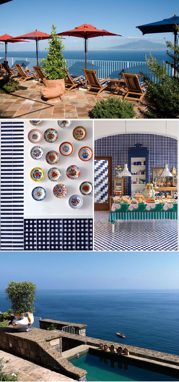 la minervetta kitchen, pool view, terrace