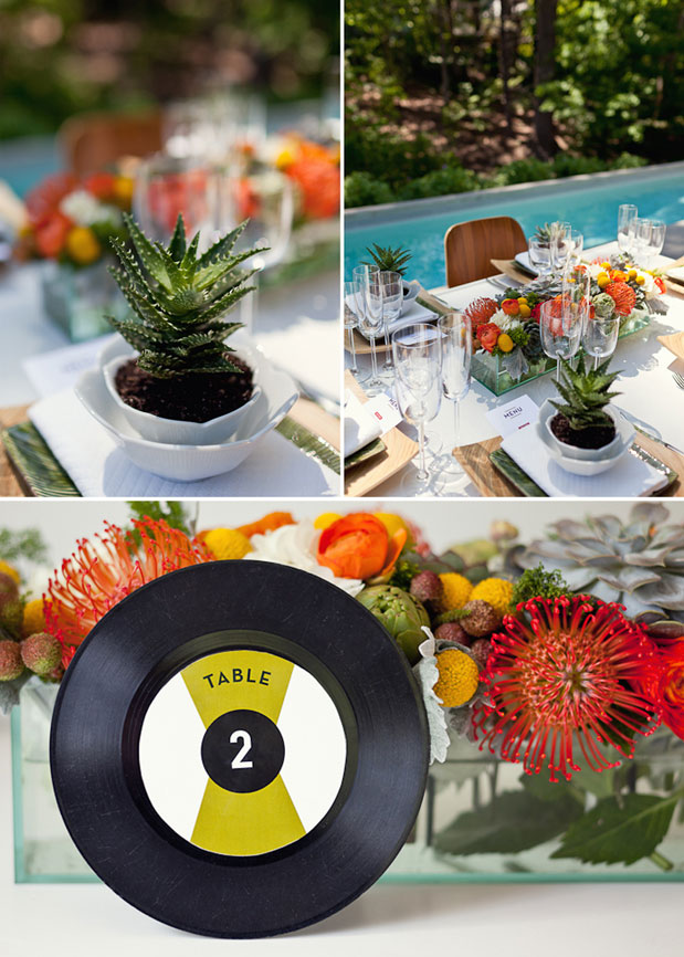 succulent place setting modern wedding inspiration red orange yellow green centerpieces