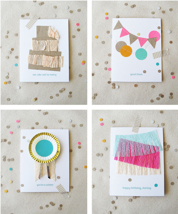 handmade stationery diy cards birthday sewn cards green pink fringe paper