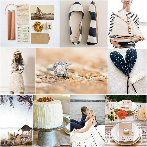 navy peach natural fiber stripes nautical wedding inspiration
