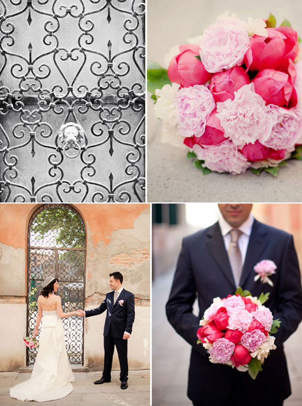 pink peonies venice wedding