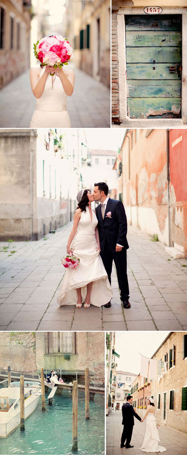 italy wedding photos wedding dress pink bouquet