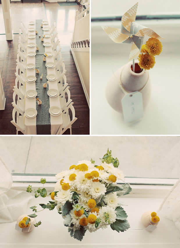 family style wedding table yellow spider mums lamb's ear heath ceramics vases