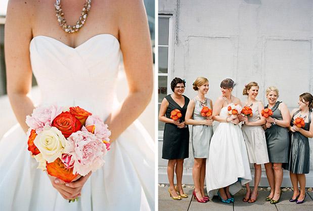 pink orange bouquet bridesmaids pick their own dress