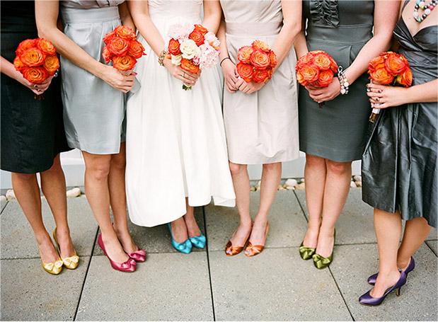 multi color bridesmaid shoes