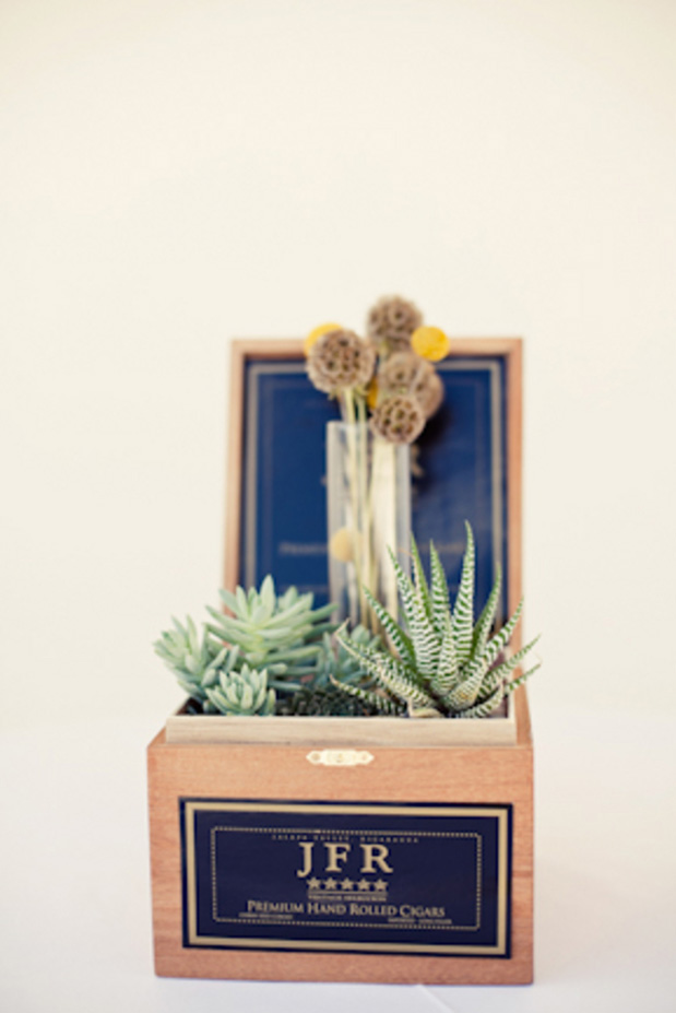cigar box succulent centerpiece diy wedding idea