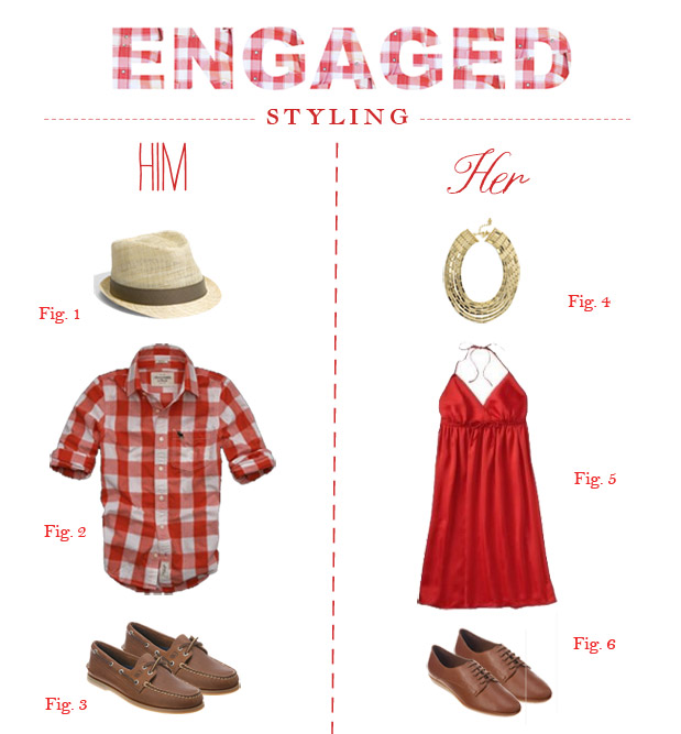 engagement session styling country chic red plaid shirt fedora gold necklace sperry topsiders women's oxfords red summer dress