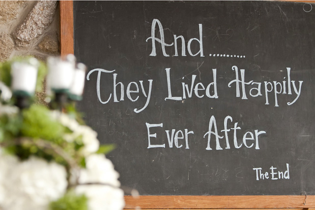 and they lived happily ever after chalkboard sign