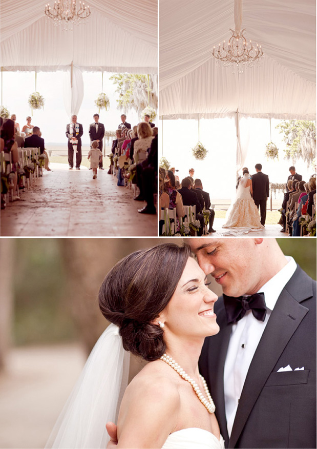 draped wedding tent chandelier ceremony cathedral veil