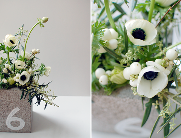cinder block centerpiece gray white